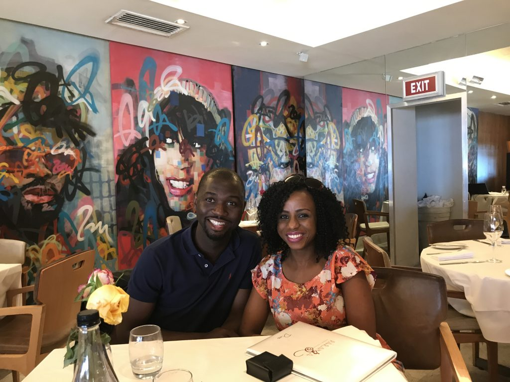 Kemi and Pelu at lunch in a restaurant